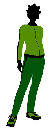 African american female jogger silhouette dressed in a green sports suit on a white background 版權商用圖片