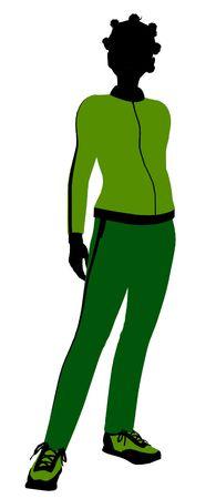 African american joggeur femelles silhouette revêtu un costume de sports vert sur un fond blanc Banque d'images - 5970115