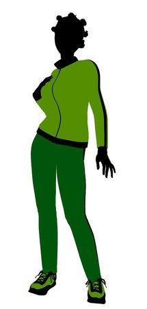 Afrique silhouette féminine américaine jogger vêtu d'un costume vert de sport sur un fond blanc Banque d'images - 5969795