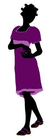 fashionably: A girl silhouette fashionably dressed in a purple dress on a white background