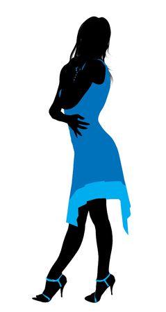 Fashionaly vrouwelijke silhouet gekleed op een witte achtergrond