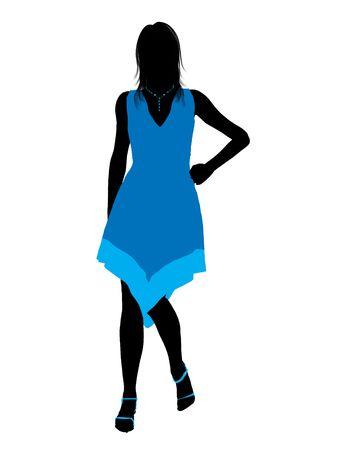 Fashionaly vrouwelijke silhouet gekleed op een witte achtergrond  Stockfoto