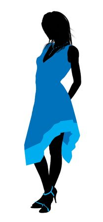 Fashionaly dressed female silhouette on a white background Imagens