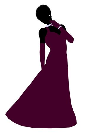African american cinderella illustration silhouette on a white background illustration