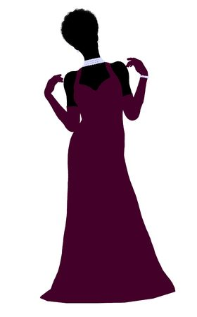 american stories: African american cinderella illustration silhouette on a white background Stock Photo