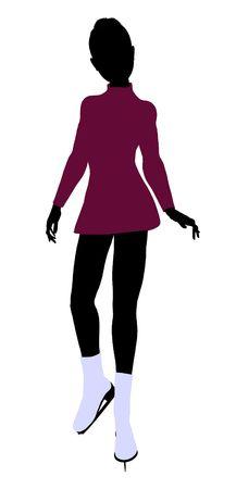 Female Ice Skater illustration silhouette on a white background