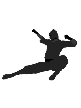 warriors: Male ninja silhouette illustration on a white background