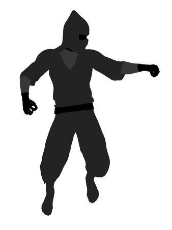 Male ninja silhouette illustration on a white background illustration