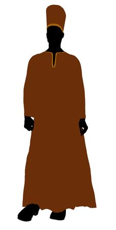 Male wearing a robe silhouette illustration on a white background