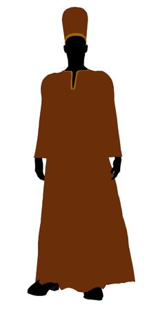 healer: Male wearing a robe silhouette illustration on a white background
