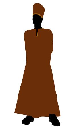 satanist: Male wearing a robe silhouette illustration on a white background
