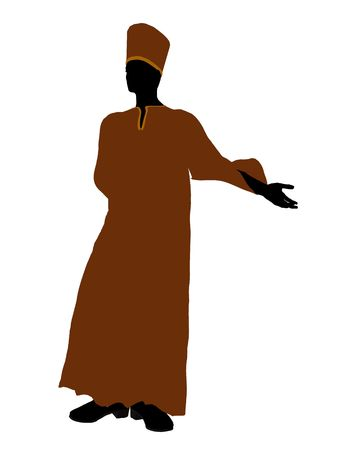 spellbinder: Male wearing a robe silhouette illustration on a white background