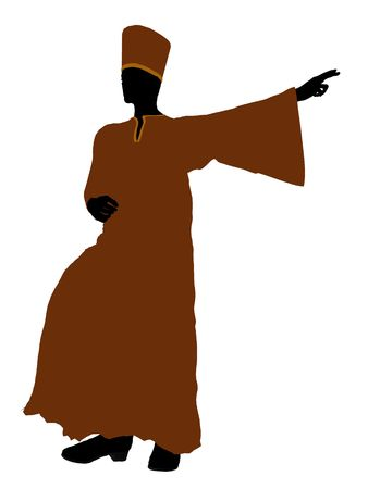 robe: Male wearing a robe silhouette illustration on a white background