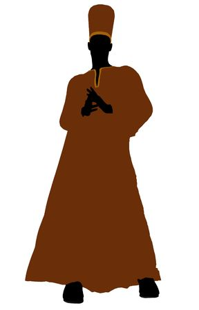 diviner: Male wearing a robe silhouette illustration on a white background