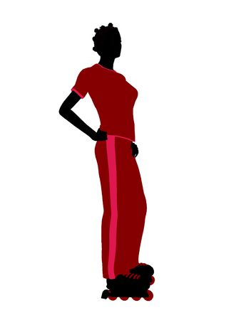 blader: African american female roller skater illustration silhouette on a white background Stock Photo