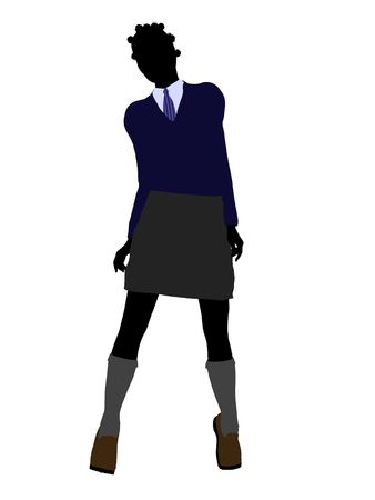 sorority: African american school girl illustration silhouette on a white background