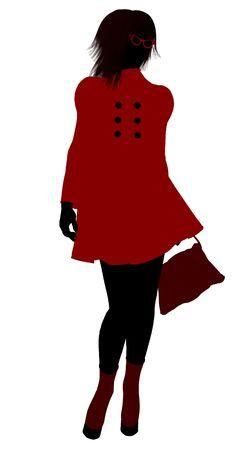sorority: School girl illustration silhouette on a white background