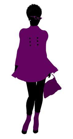 African American shop girl illustration silhouette on a white background Reklamní fotografie