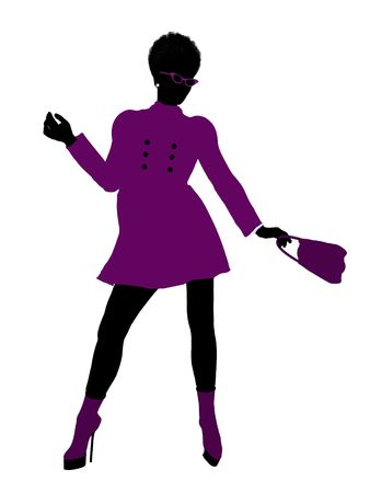 spending money: African American shop girl illustration silhouette on a white background Stock Photo