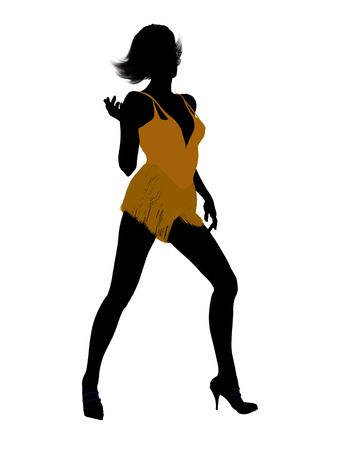 bellydancer: Female showgirl illustration silhouette on a white background