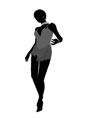 bellydancer: African american showgirl illustration silhouette on a white background Stock Photo
