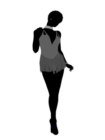 showgirl: African american showgirl illustration silhouette on a white background Stock Photo