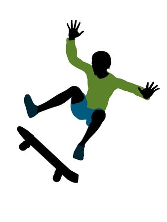 African american skateboarder illustration silhouette on a white background