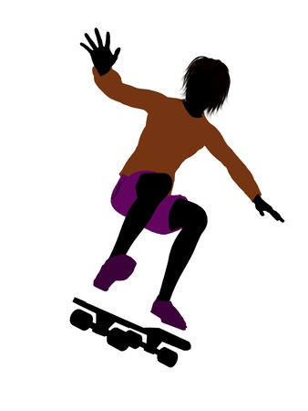 Male skateboarder illustration silhouette on a white background
