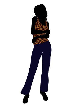 Casual gekleed vrouwelijke silhouet op een witte achtergrond Stockfoto