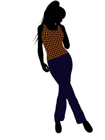 Casual dressed female silhouette on a white background