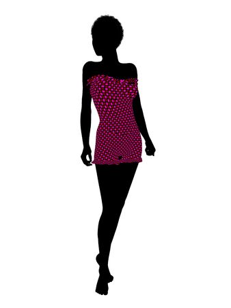 African american female swimsuit illustration silhouette on a white background