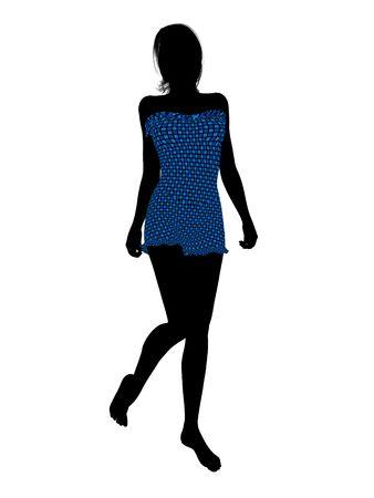 Female swimsuit illustration silhouette on a white background Stock fotó