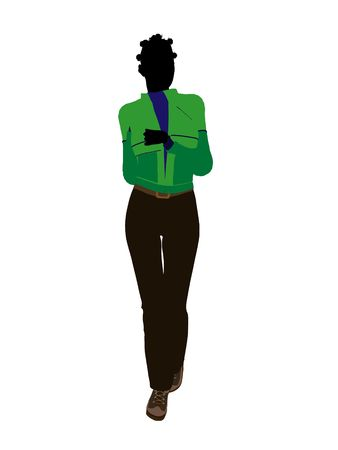 African american casual outdoor dressed female silhouette on a white background Stock Photo