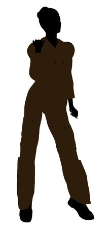 machinist: Female mechanic illustration silhouette on a white background