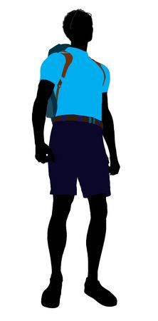African american hiker illustration silhouette on a white background
