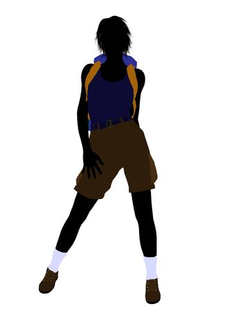 Girl hiker illustration silhouette on a white background