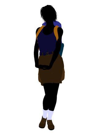 白い背景の上の少女ハイカー図シルエット