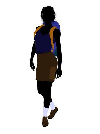 白い背景の女の子ハイカー イラスト シルエット