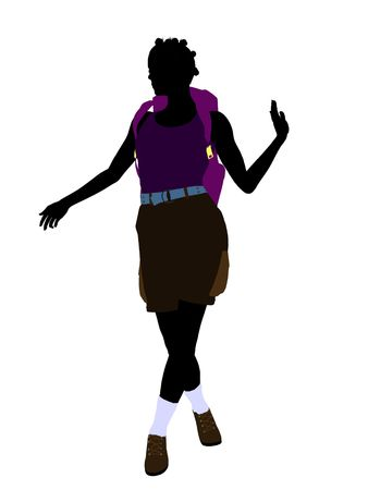 아프리카 계 미국인 여자 등산객 그림 실루엣 흰색 배경에