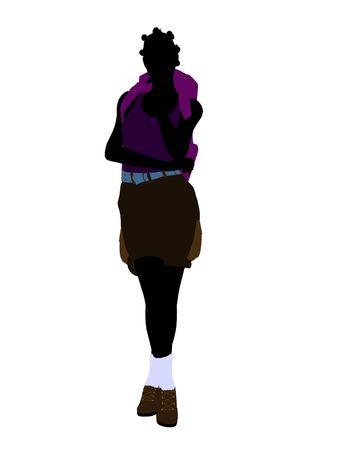 白い背景の上のアフリカ系アメリカ人女の子ハイカー イラスト シルエット 写真素材