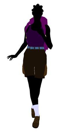 白い背景の上のアフリカ系アメリカ人女の子ハイカー図シルエット 写真素材