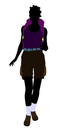 African american girl hiker illustration silhouette on a white background Stok Fotoğraf