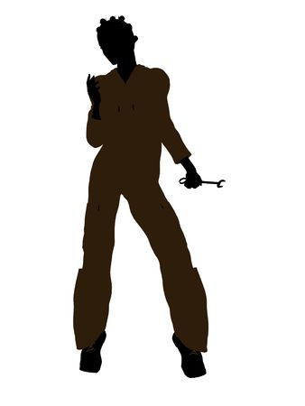 Female african american mechanic illustration silhouette on a white background Stok Fotoğraf