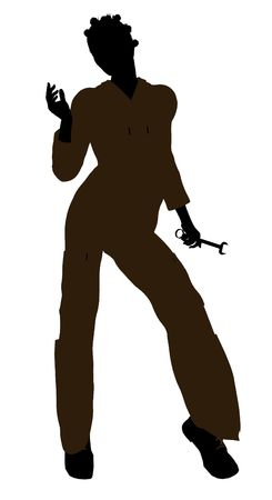 machinist: Female african american mechanic illustration silhouette on a white background Stock Photo