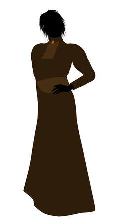 白い背景の上の女性ビクトリア アート イラスト シルエット 写真素材