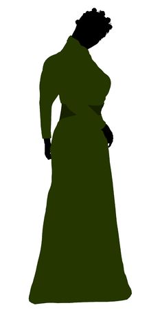 Female victorian art illustration silhouette on a white background Stok Fotoğraf
