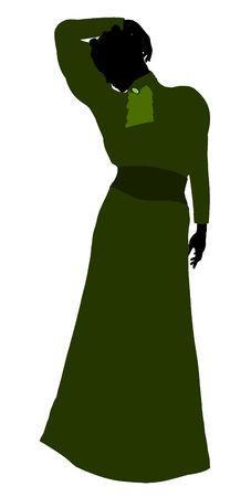 白い背景の上の女性ビクトリア朝アート イラスト シルエット 写真素材
