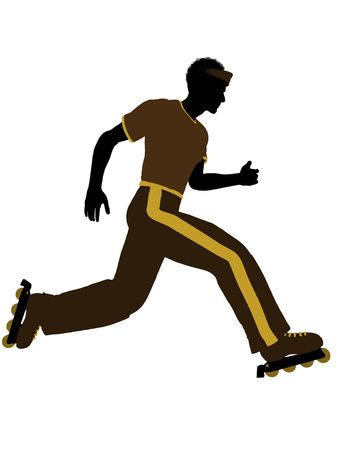blader: African american male roller skater illustration silhouette on a white background