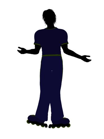 Male roller skater illustration silhouette on a white background