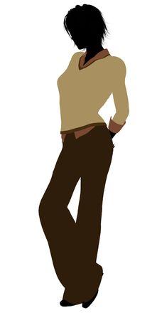 Männlich Geschäftsmann Silhouette auf weißem Hintergrund Standard-Bild - 6205294